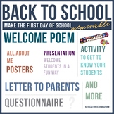 Welcome Back Package & Activity *NO PREP* Activity, All About Me, Letters & More