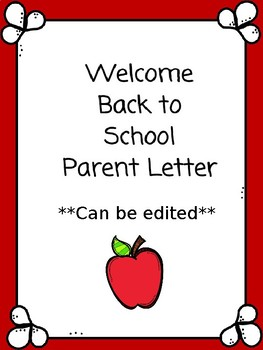 Welcome Back Parent Letter
