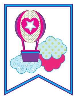 Welcome Back Pennant Banner Hot Air Balloons