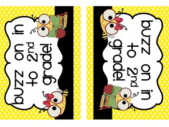 Welcome Back Postcards- Bee Themed