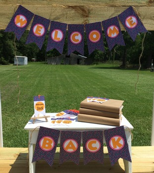 Welcome Back Purple and Orange Banner.  Treat Tags. {Hard Goods}
