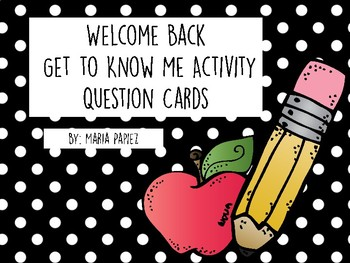 Welcome Back Question Cards
