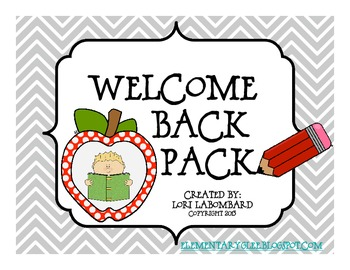 First Week Of School-Welcome Back To School Activity Pack