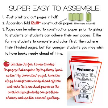 Welcome Back To School - Foldable Book for the First Day or Week of School!