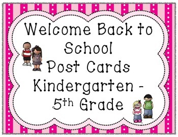 Welcome Back To School Post Cards - FREEBIE