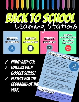 Welcome Back To School Stations