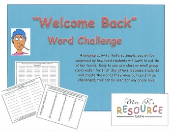 Welcome Back Word Challenge