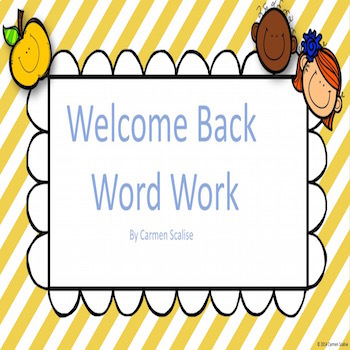 Welcome Back Word Work