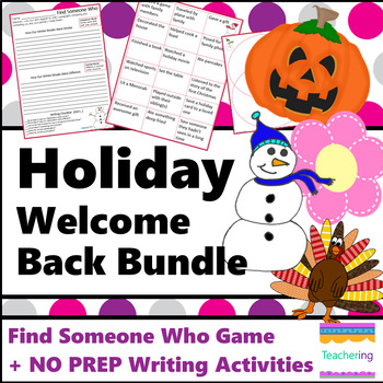NO PREP Welcome Back from Spring Break Writing Activities (+6 other holidays!)