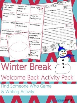 NO PREP Return from Winter Break Writing Activities (+6 other holidays!)