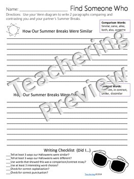 Welcome Back Comparison Contrast Writing {No Prep ELA Activities}
