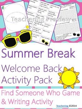 Welcome Back to School {No Prep ELA Activities}