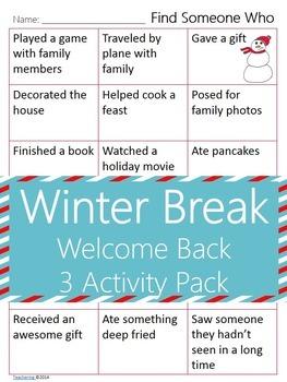 Welcome Back from Winter Break {No Prep ELA Activities}
