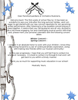 Welcome Back Band Orchestra Chorus Update Letter!