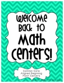 Welcome Back to Math Centers
