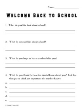 Welcome Back to School Worksheets