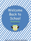Welcome Back to School Bookmarks- Owl Theme