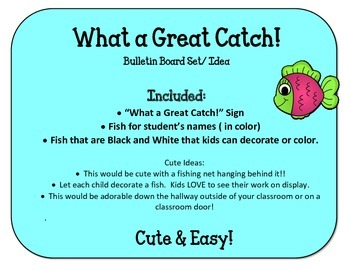 Welcome Back to School Bulletin Board Set.  What a Great Catch! Fish