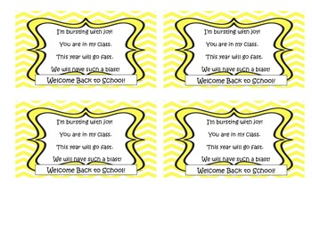 Welcome Back to School Candy Bag Poem
