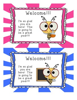 Awe Inspiring Welcome Back To School Cards Bees By Tracy Pirozzoli Tpt Funny Birthday Cards Online Fluifree Goldxyz