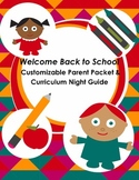 Welcome Back to School Customizable Parent Packet & Curriculum Night Guide