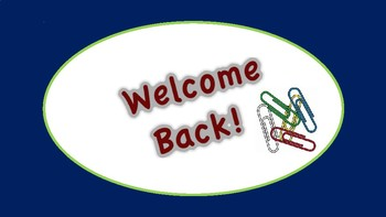Welcome Back to School Editable Power Point