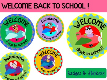 Welcome Back to School : Flying Animals : Badges and Stickers