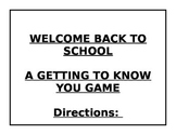 Welcome Back to School Game