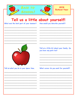 Welcome Back to School Get To Know Sheet