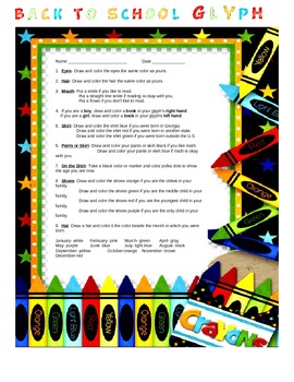 Welcome Back to School Glyph Activity