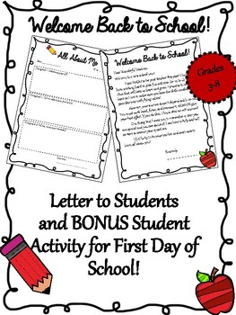 Welcome Back to School Letter {BONUS Student Writing Activity}