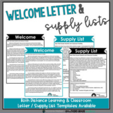 Welcome Back to School Letter & Supply List - Editable - Google Slides