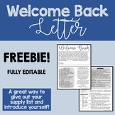 Welcome Back to School Letter and Supply List FREEBIE Fully Editable
