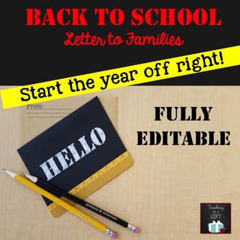 Back to School Letter: EDITABLE