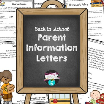 Back to School Letters for Parents