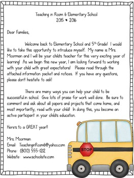 Back to School Letters for Parents by Teaching in Room 6 | TpT