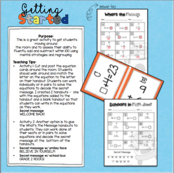 Welcome Back to School Math Scoot: Grade 2