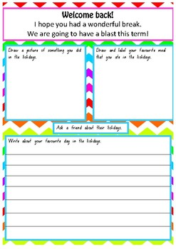 Welcome Back to School Message and Activity