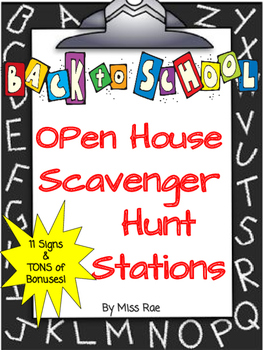 Welcome Back to School Open House Scavenger Hunt Stations