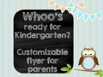Kindergarten Welcome Back to School Owl Pamphlet Flyer Kindergarten