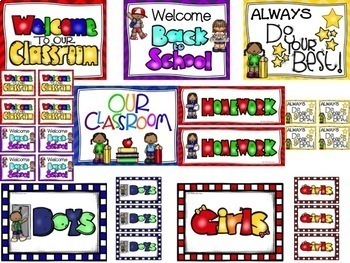 WELCOME BACK TO SCHOOL PACK: Posters-Student Notes-HW Sign-Class News Stationary