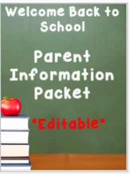 Welcome Back to School Parent Information Packet and Forms (Editable!)