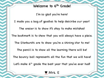 Welcome Back to School Poem Chevron Pattern