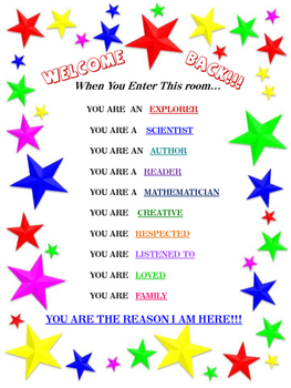 Welcome Back to School Poem and Poster