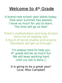 Welcome Back to School Poem *EDITABLE*