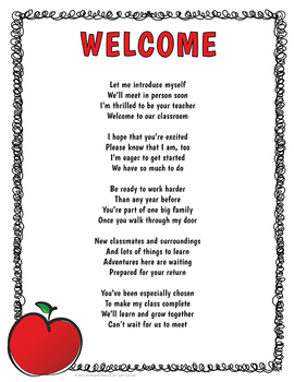 Welcome Letter Back to School Poem