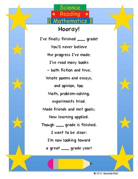 """""""Welcome"""" Back to School Poem and """"Hooray"""" End of Year Poem"""