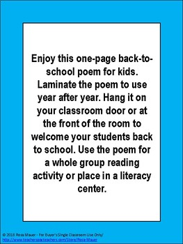 Welcome Back to School Poem for Kids