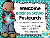 Welcome Back to School Postcards for Students Freebie