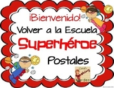 Welcome Back to School Postcards with a Superhero Theme (Spanish Version)